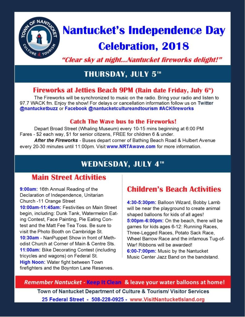 Nantucket Schedule Fourth of July